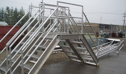 Aluminum conveyor crossover stairs left side view