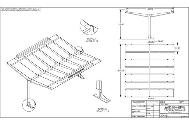 Solidworks drawing of fabricated metal canopy for Starbucks