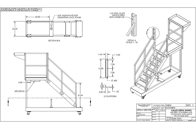 Solidworks drawing of aluminum custom rolling steps