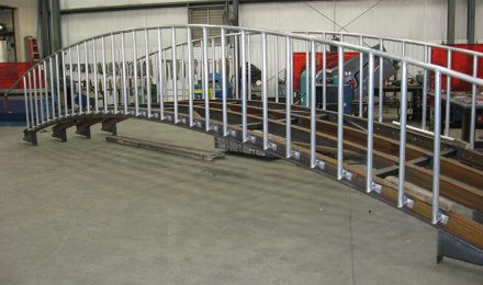 Custom fabricated metal bridge right angle view