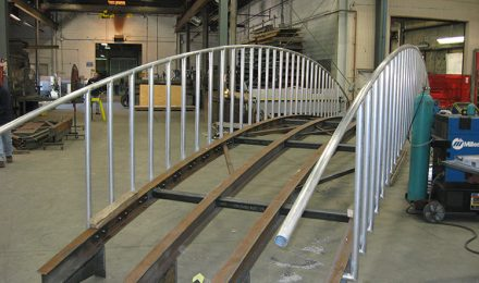 Custom fabricated metal bridge back view
