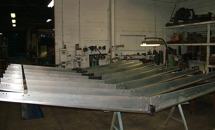 Steel fabricated Starbucks canopy completed assembly