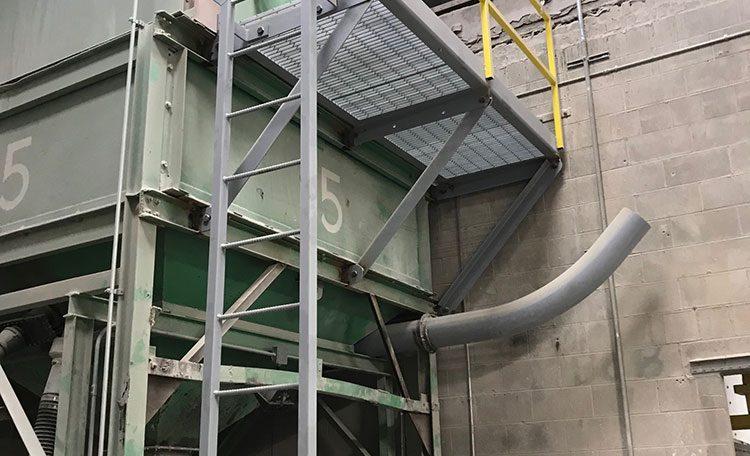 Metal hopper platform and ladder bottom view