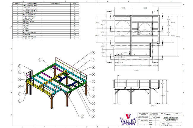 Mezzanine part design technical drawing