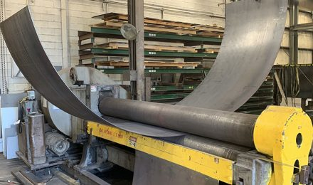 Steel roll formed arc segment right angle view