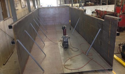 Inside of custom fabricated TVA containment tank